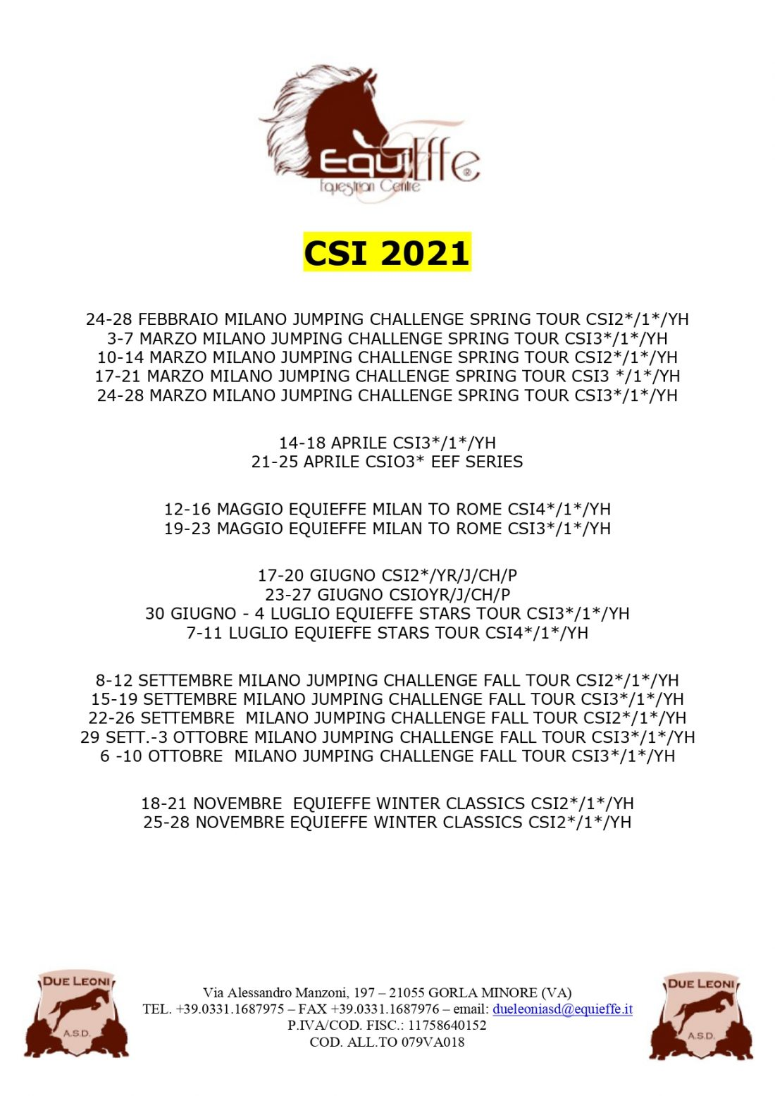Calendario Concorsi Internazionali 2021 | Equieffe